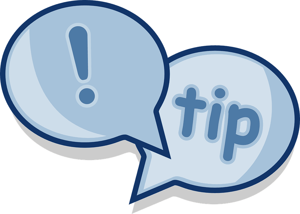 text bubbles saying tips